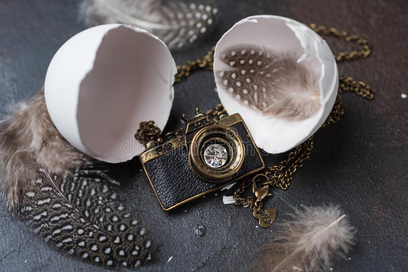 Photo camera shaped pendant hatched from white eggshell royalty free stock images
