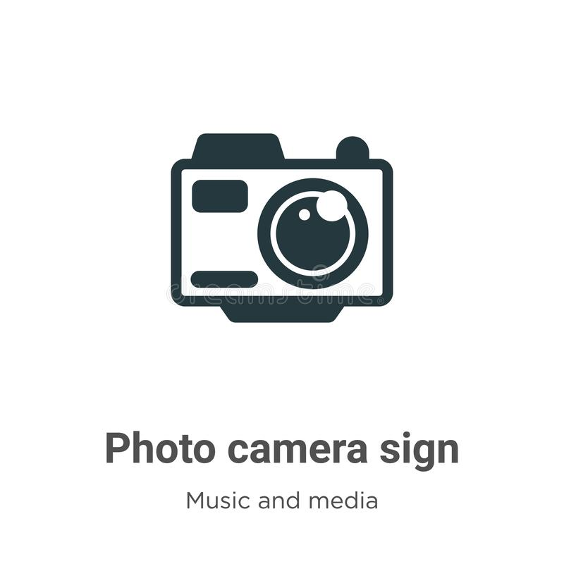 Photo camera sign vector icon on white background. Flat vector photo camera sign icon symbol sign from modern music and media. Collection for mobile concept and vector illustration