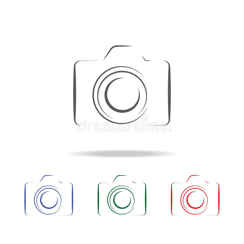 Photo camera silhouette logo icon. Elements of photo camera in multi colored icons. Premium quality graphic design icon. Simple ic royalty free illustration