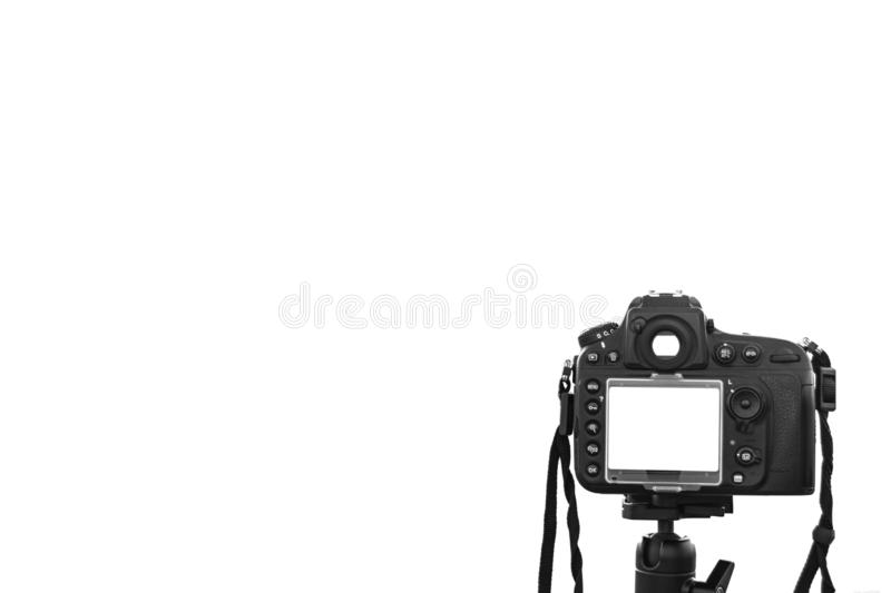 A Photo camera taking picture. Digital camera isolated on a white with isolated white screen. DSLR camera isolated stock images