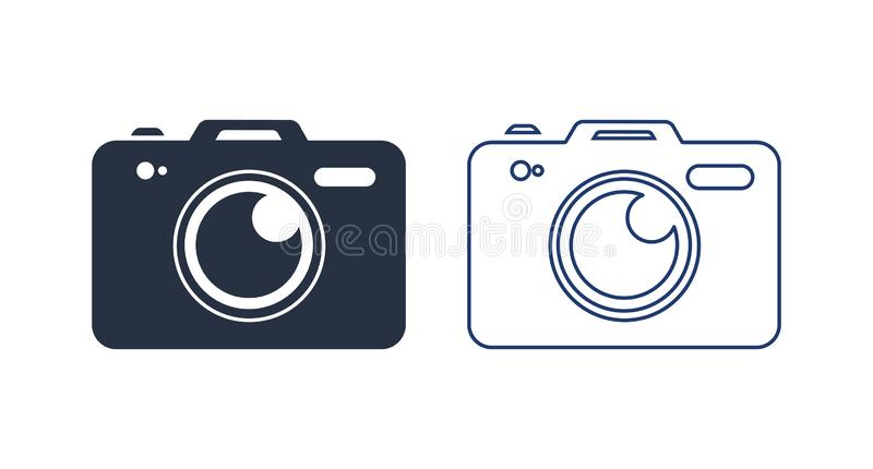 Photo camera vector icon illustration. Camera Icon in trendy flat style isolated on white background. Solid, linear icon stock illustration
