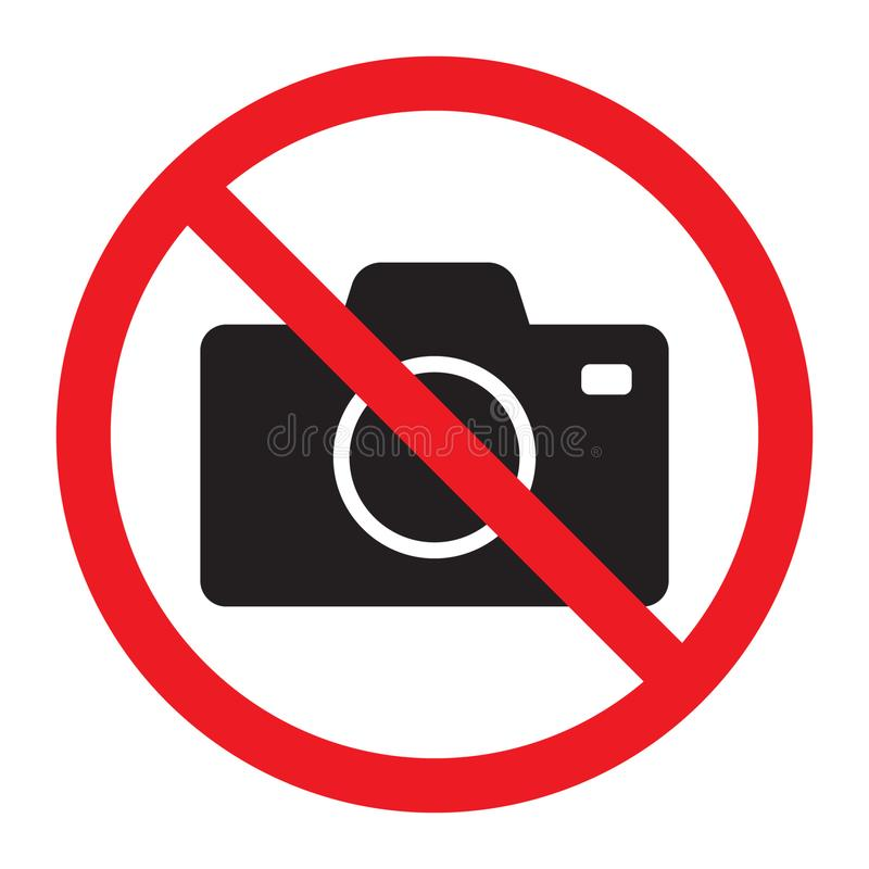 Photo camera vector iconNo cameras allowed sign. Red prohibition no camera sign. No taking pictures, no photographs sign. stock illustration