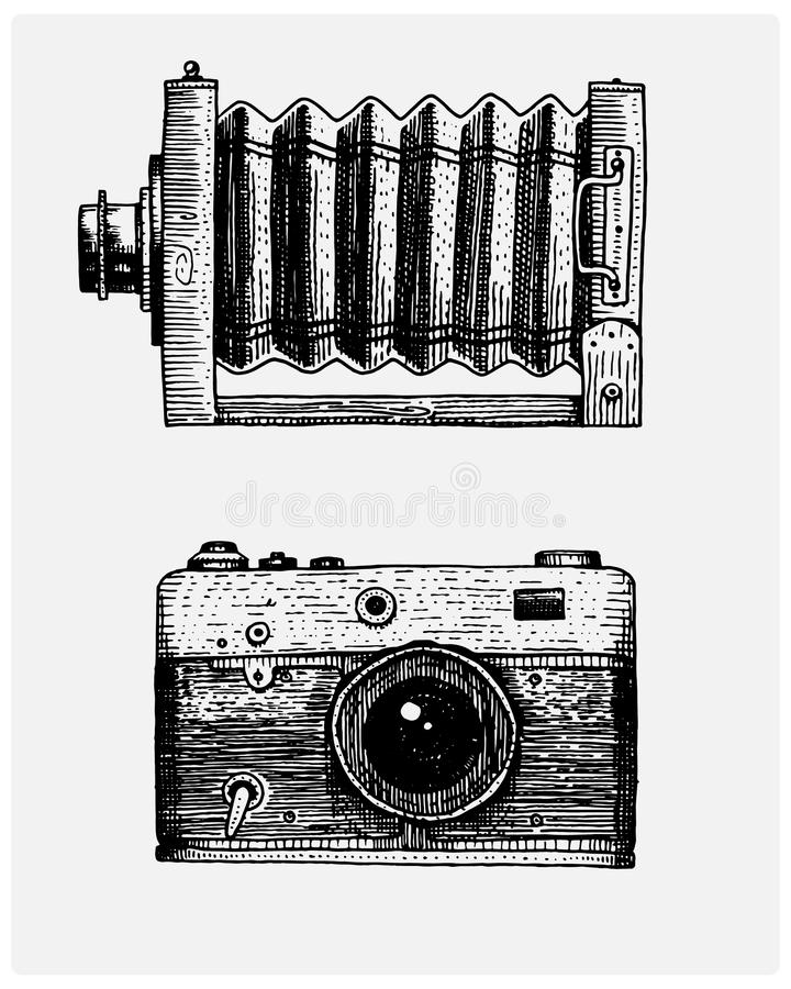 Photo camera vintage, engraved hand drawn in sketch or wood cut style, old looking retro lens, isolated vector realistic stock illustration