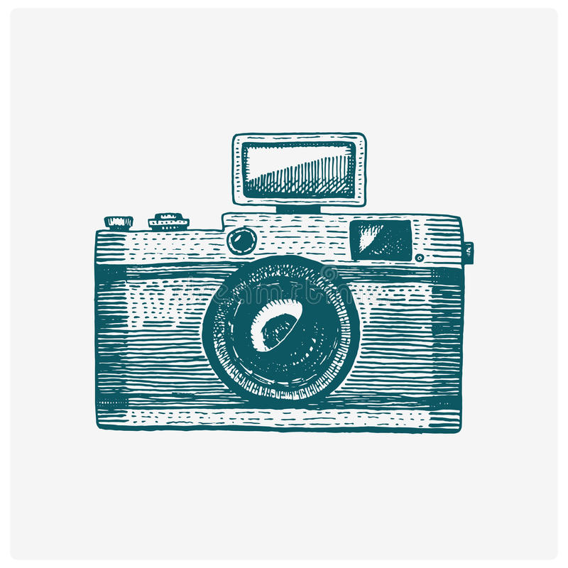 Photo camera vintage, engraved hand drawn in sketch or wood cut style, old looking retro lens, isolated vector realistic. Illustration stock illustration