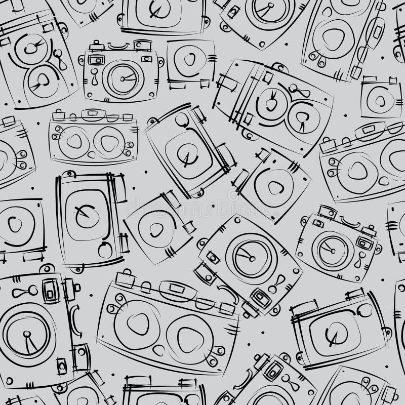 Photo cameras seamless pattern stock illustration
