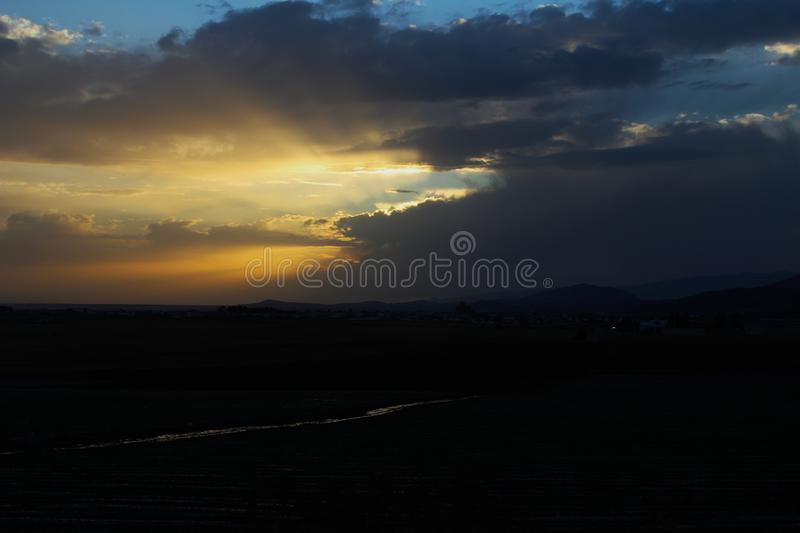 Sunset after torrential rain on a summer afternoon stock images
