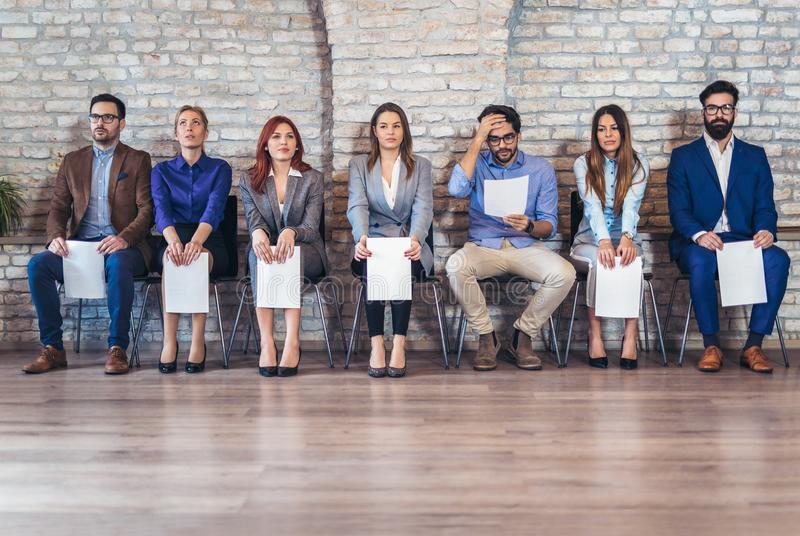 Photo of candidates waiting for a job interview stock photos