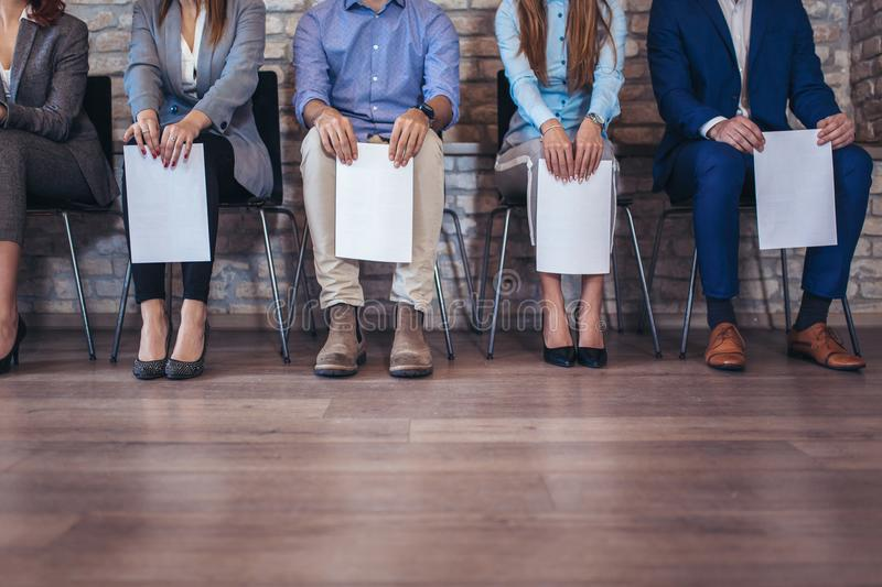 Photo of candidates waiting for a job interview stock images