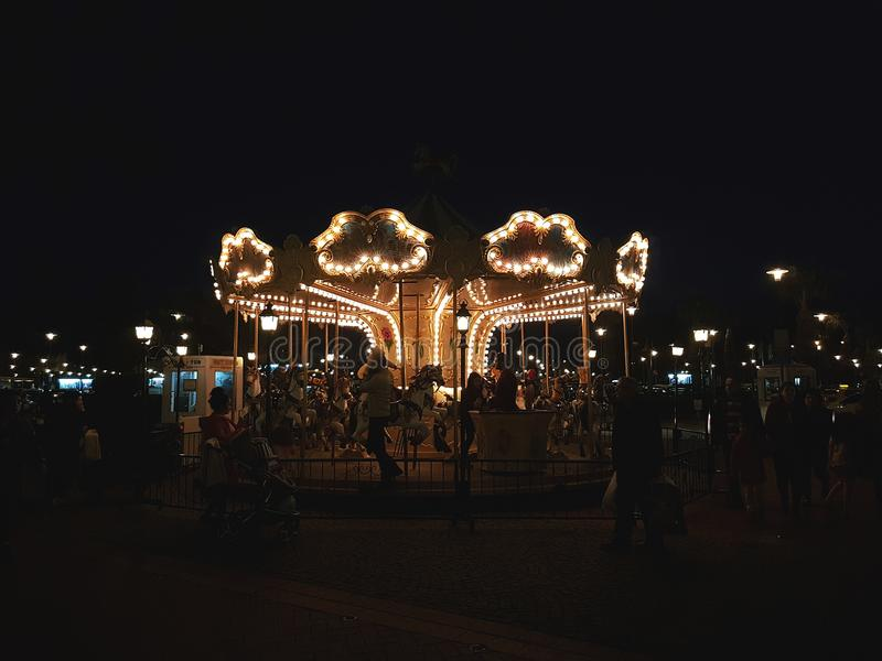Photo of Carnival Horse Carousel at Night royalty free stock images
