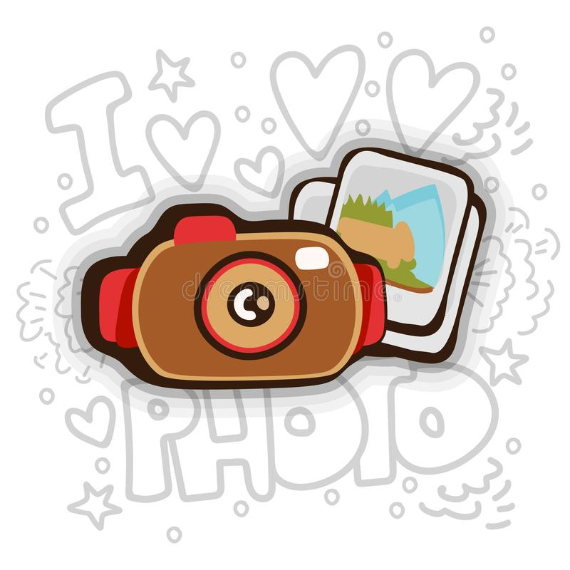 Photo cartoon vector icon. Photo camera and photos with decoration elements on background, icon in fun cartooning style. Photo icon with shadow isolated on royalty free illustration
