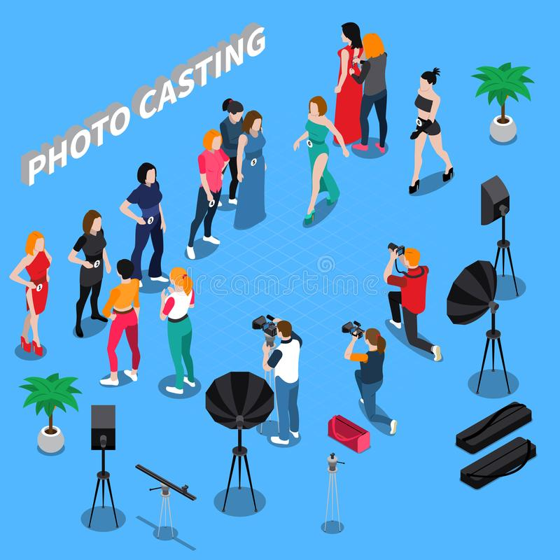 Photo Casting Isometric Composition vector illustration
