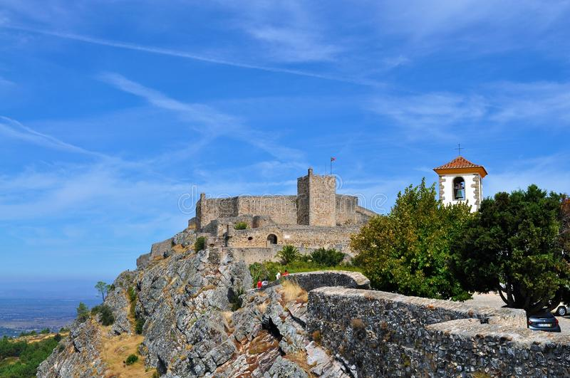 The castle and the church tower - Marvão Castle stock image