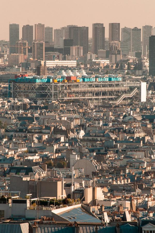 Centre Pompidou, Paris, France pictured from the distance over the skyline of the city. Photo of the centre for contemporary arts in Paris, France - Centre stock photography