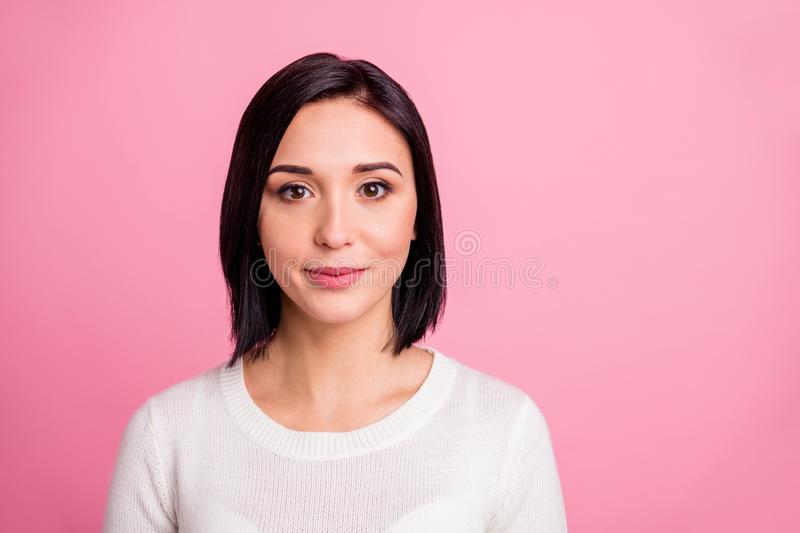 Photo of charming business lady with clever eyes and pretty sweet smile wear white pullover isolated pink color stock photo
