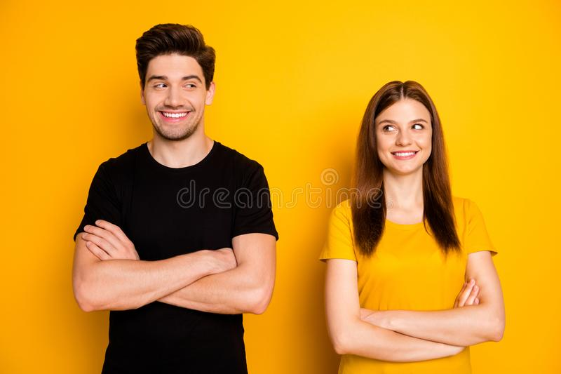 Photo of cheerful cute pretty sweet nice couple of two people standing confidently optimisticly with arms crossed. Photo of cheerful cute pretty sweet nice royalty free stock photography
