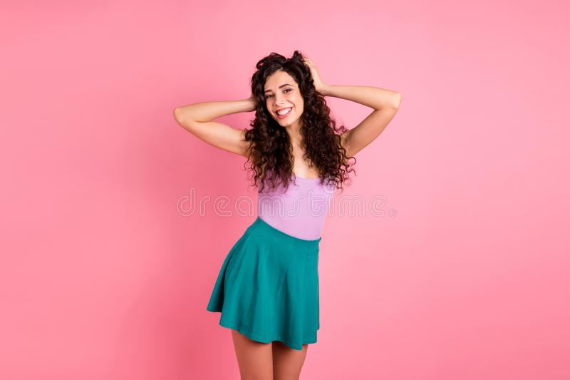 Photo of cheerful nice cute confident girlfriend posing in front of camera isolated with pink background royalty free stock photos