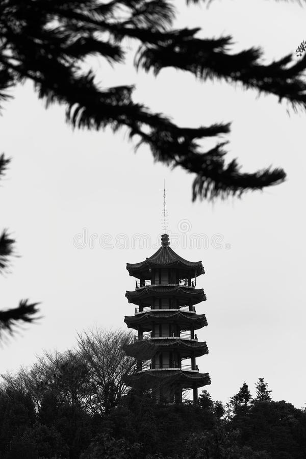 Black and white China Shenzhen Botanical Garden with Pagoda on Hill Surrounded by Forest Trees stock photo