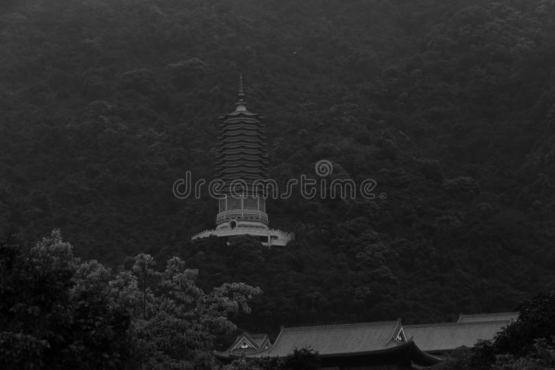 Black and white China Shenzhen Botanical Garden with Pagoda on Hill Surrounded by Forest Trees royalty free stock photography