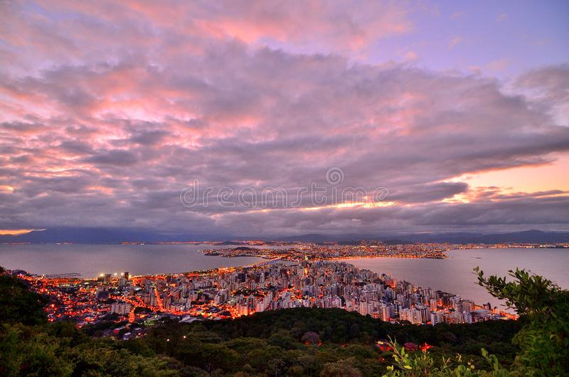 Photo of City Buildings Taken Up on the Mountain during Dusk royalty free stock images