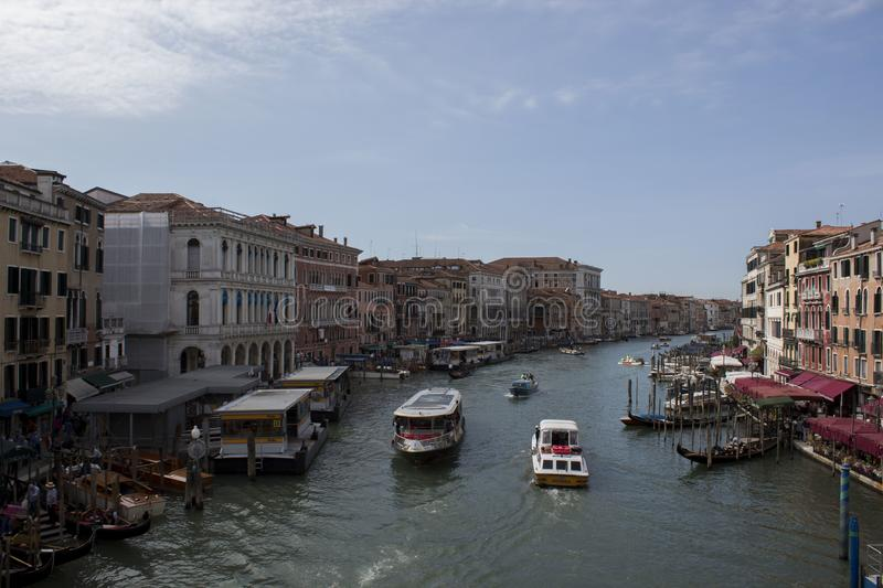 Photo of city on a water - Venice. Where we can see chanels with boats stock photography