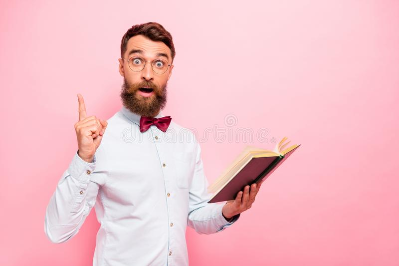 Photo of clever intelligent geek scholar erudite scientist having great solution innovation  pastel background royalty free stock photo