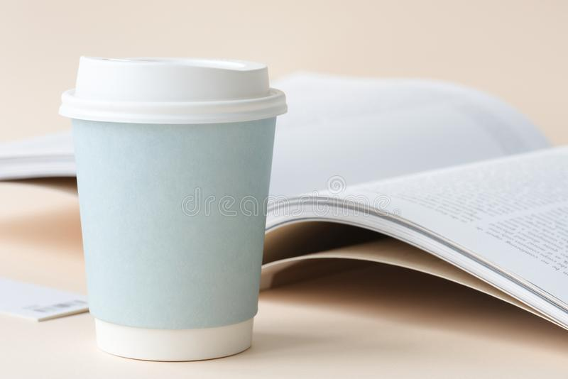 Photo of Coffee Cup Beside Book royalty free stock photo