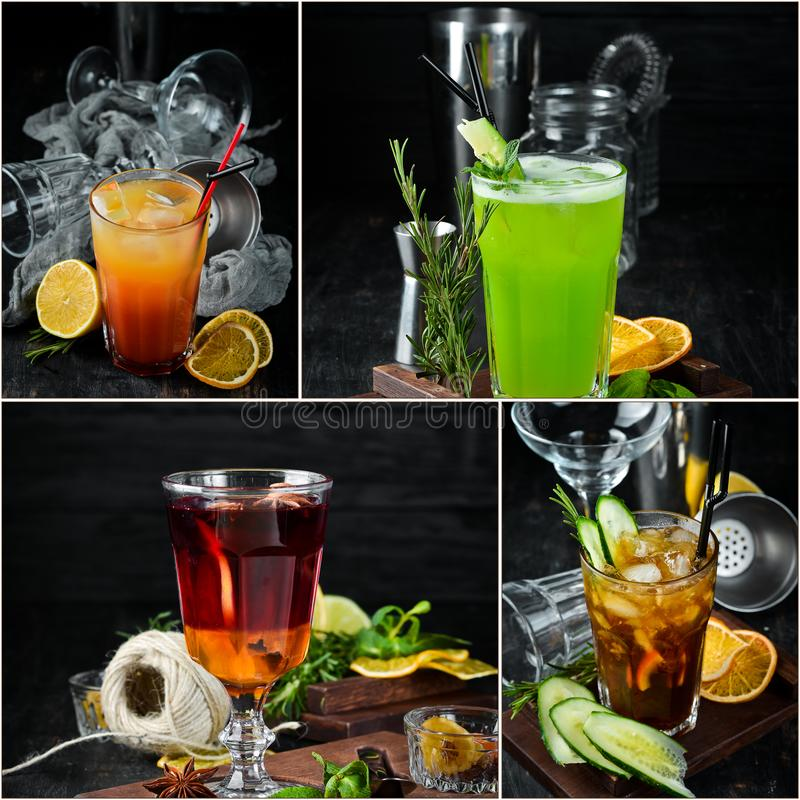 Photo collage Alcoholic colored cocktails and drinks stock image