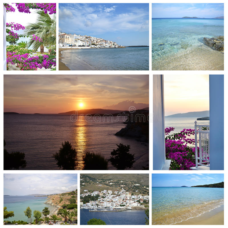 Photo collage of Andros island Greece stock image