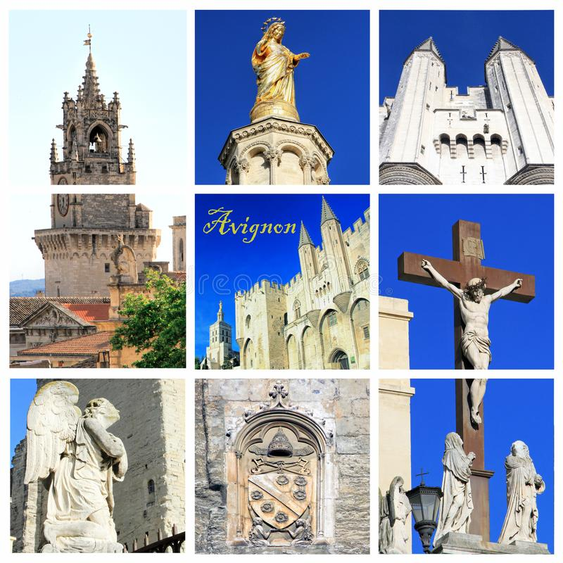 Photo collage of Avignon -  South of France. Photo collage Avignon - city of Popes, South of France stock image