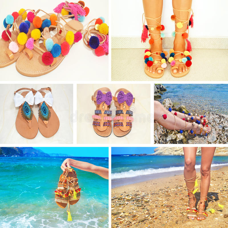 Photo collage of bohemian greek sandals royalty free stock photos