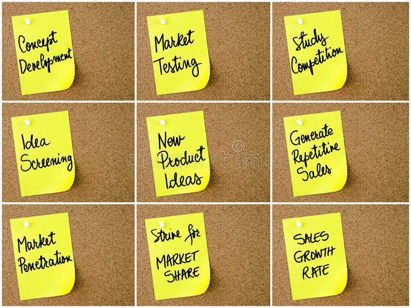 Photo collage of Business and Marketing notes written on yellow paper post-it. Pinned on cork board with white thumbtack. Business concept image with copy space stock illustration