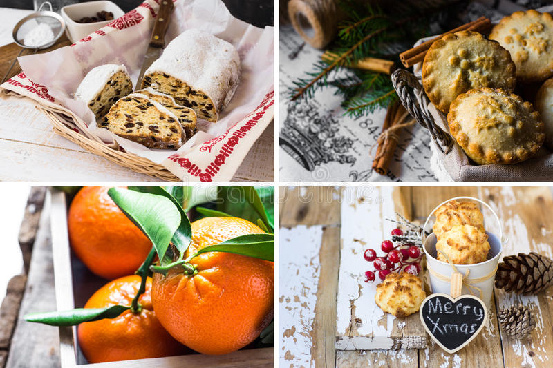 Photo collage, Christmas baking, german stollen, mince pies in wicker basket, coconut puffs, tangerines with green leaves royalty free stock image