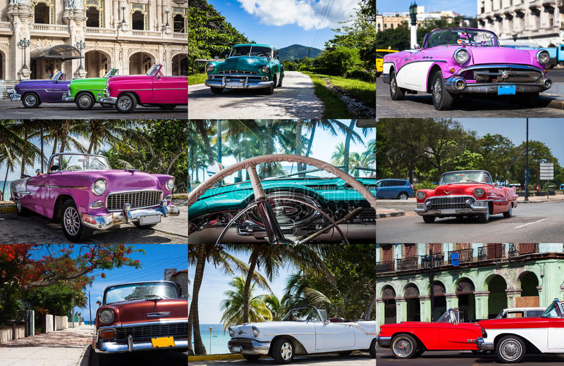 Photo collage from Cuba with vintage cars.  royalty free stock image