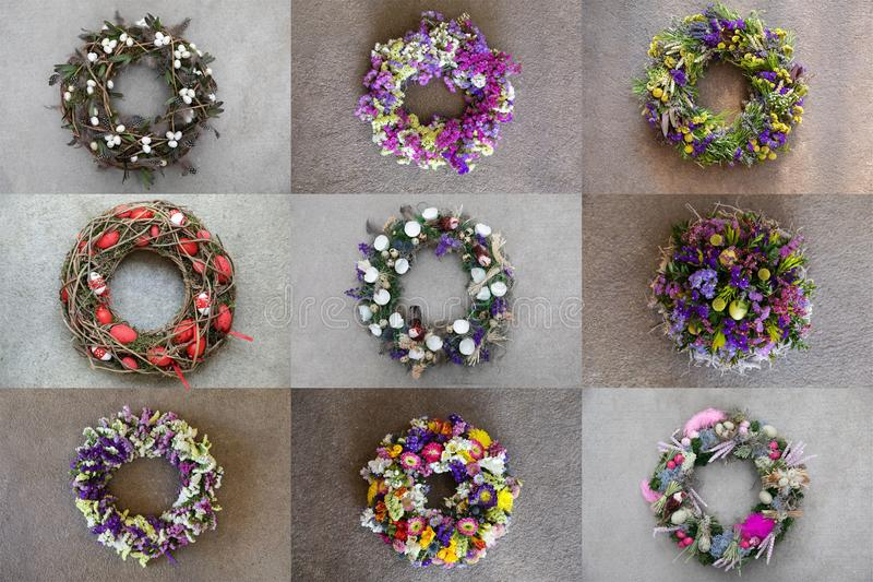 Photo collage of 9 different stylish handmade wreaths for your home door decoration Easter spring holidays creative. Ideas all images isolated on a gray stock photography