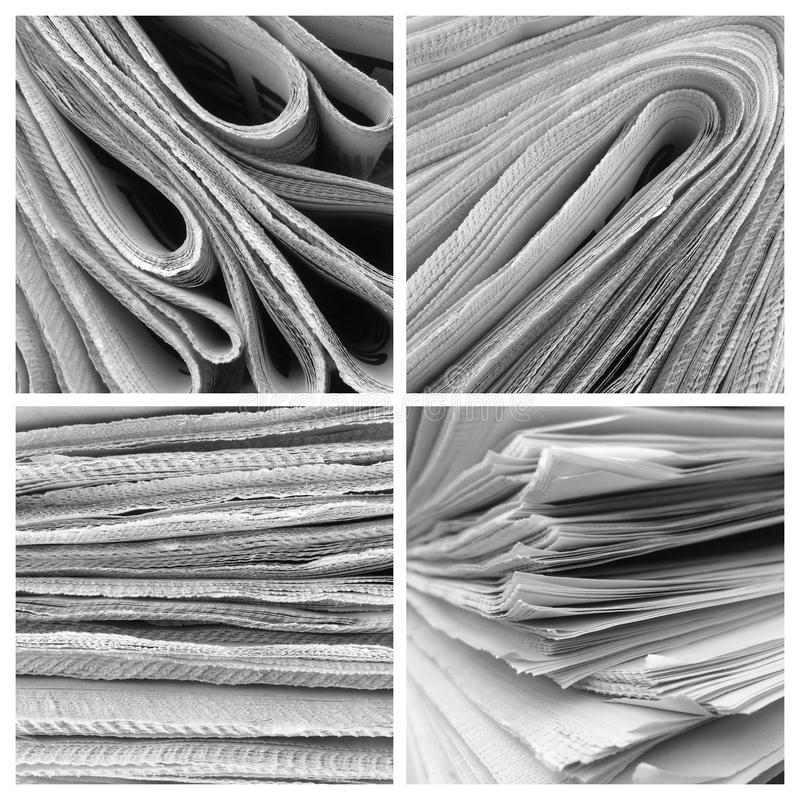 Photo collage of folded Newspapers stacked and rolled in black and white royalty free stock image