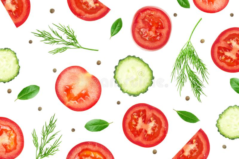 Photo collage for food leaflet template, vegetable vegans flyers. Fresh organic healthy layout, vegetables cover. Organic ads. Sliced tomatoes, cucumbers, dill royalty free stock images