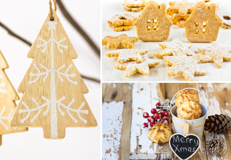 Photo collage, handmade Christmas ornaments, wood fir tree hanging on dry branch, gingerbread and linzer cookies, coconut puffs stock photos