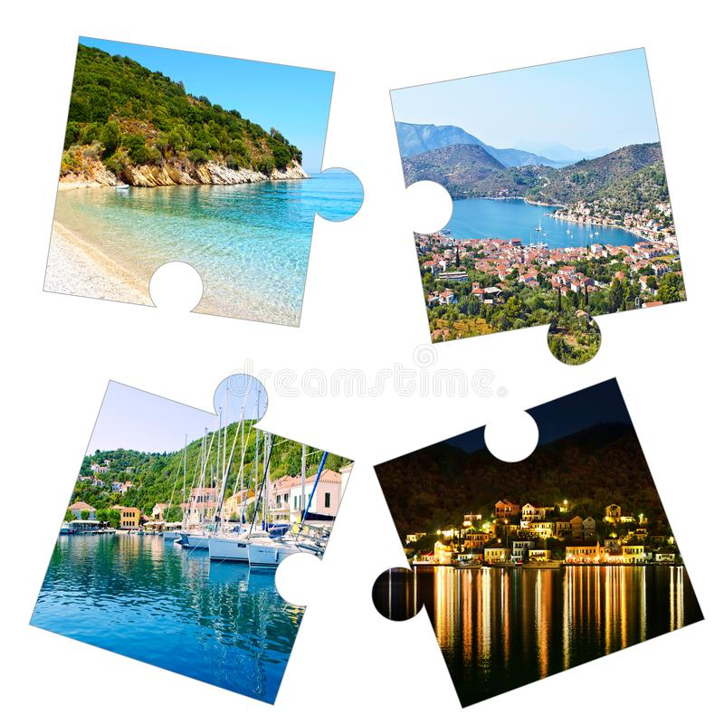 Photo collage of Ithaca Ionian islands Greece royalty free stock photos