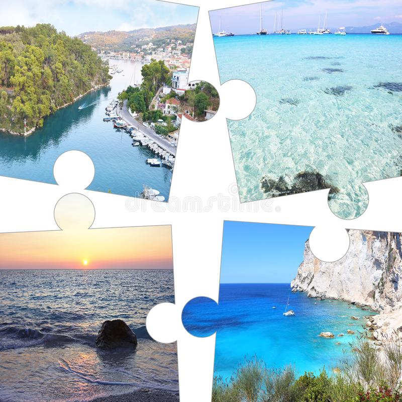 Photo collage in puzzle pieces of Paxos and Antipaxos Ionian islands Greece stock photos
