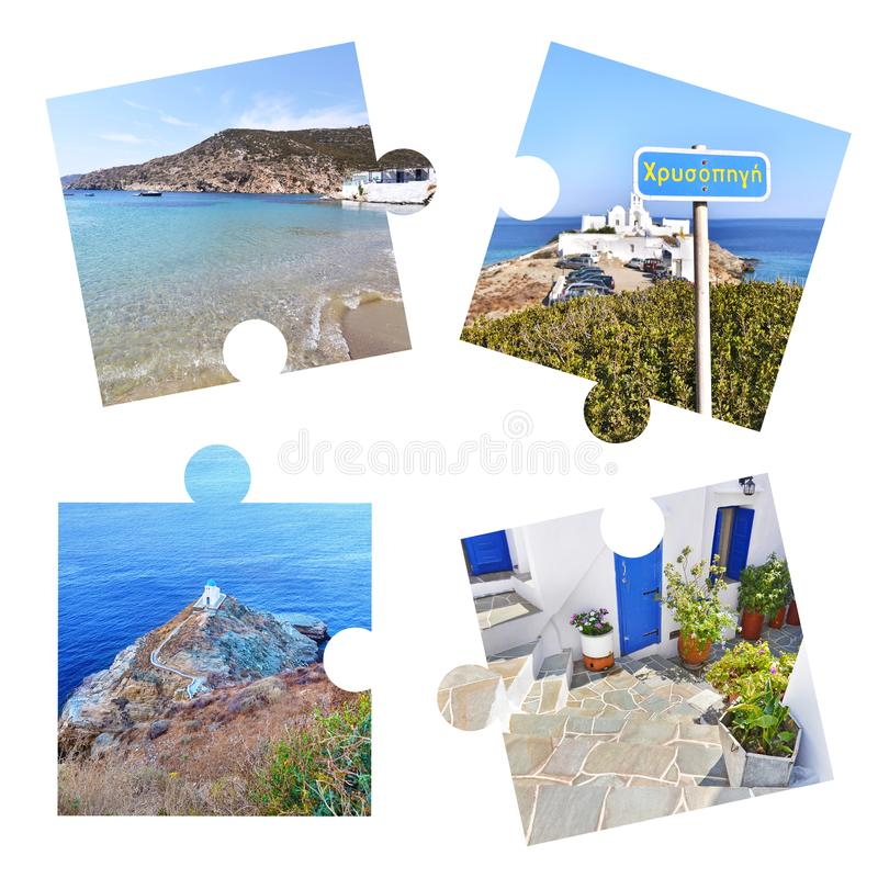 Photo collage with Sifnos island photos in puzzle pieces stock images