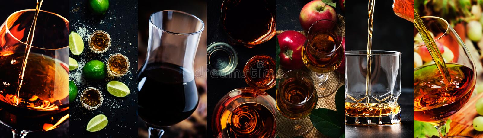 Photo collage, strong alcoholic drinks: cognac, vinsky and brandy, tequila and vodka, grappa, liquor. Close-up royalty free stock photos