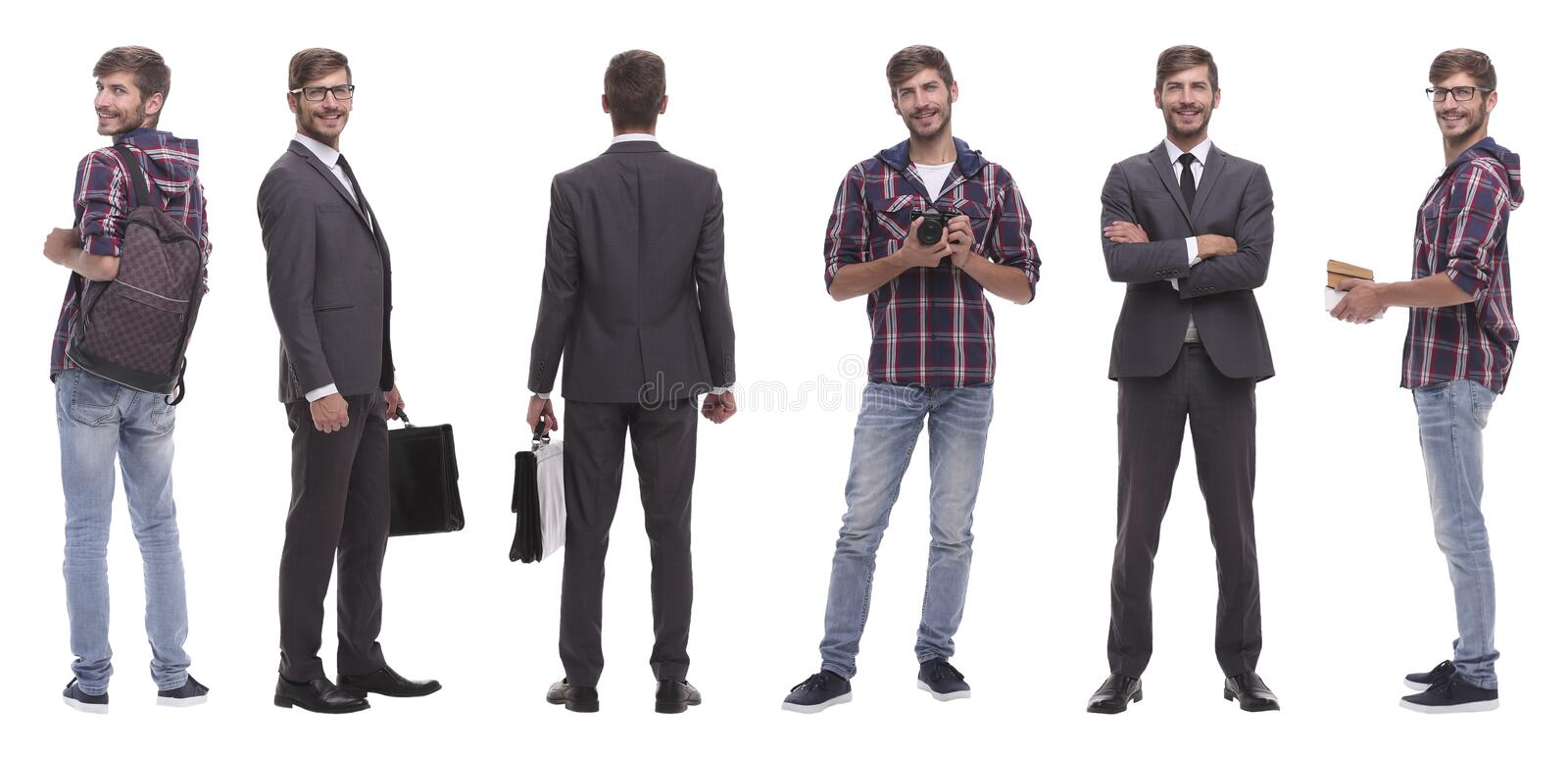 Photo collage successful modern young man..isolated on white stock photos