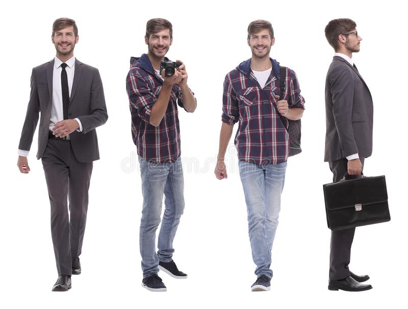 Photo collage successful modern young man..isolated on white stock image