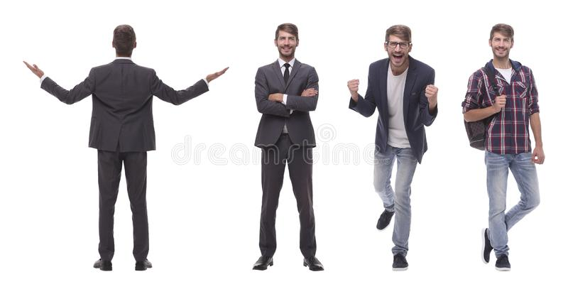 Photo collage successful modern young man..isolated on white stock images