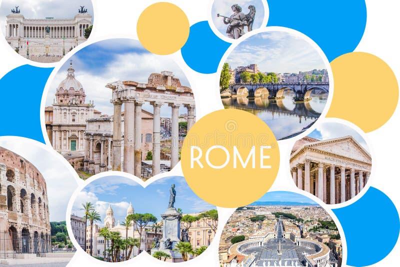 Photo collage of sunny Rome - Roman Forum, Colosseum, stone bridge of Saint Angel, Pantheon, Piazza Venezia, St. Peter`s Square stock illustration