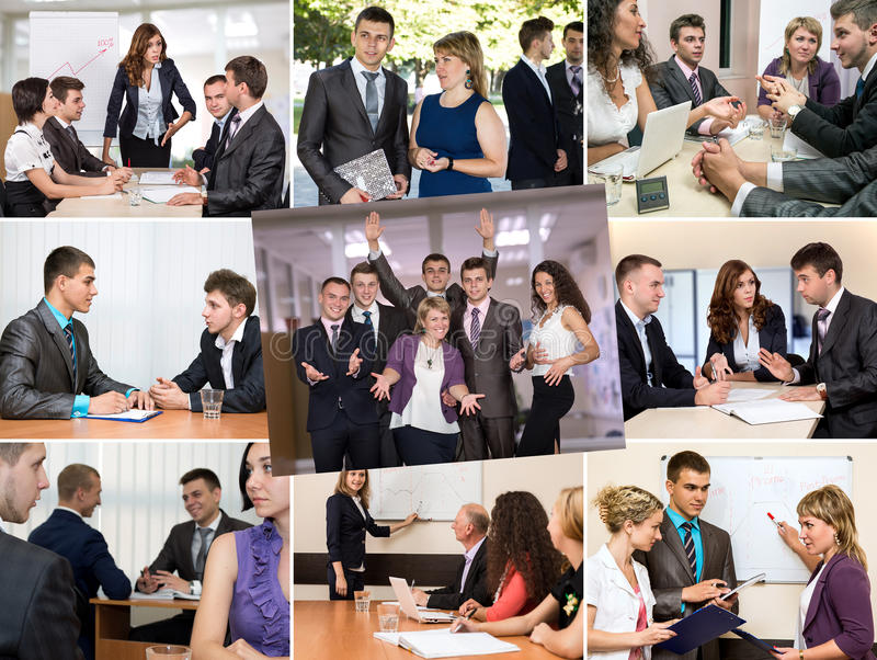 Photo Collage telling Story of Business Team Success stock images