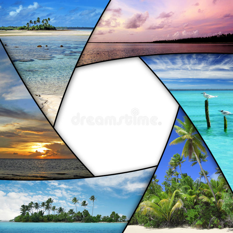 Photo collage of tropical seas. With blank space royalty free stock photography