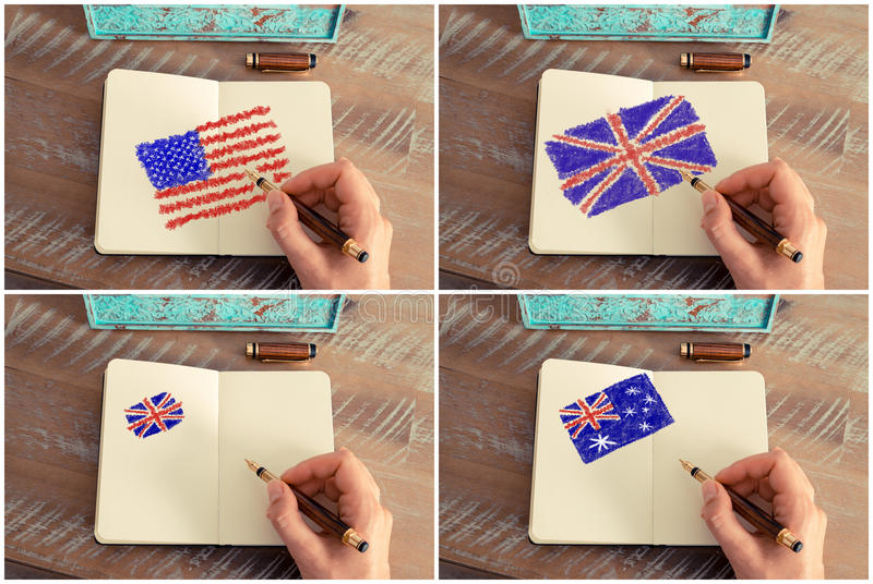 Photo collage with United States, Australia and United Kingdom flags. Photo collage of a woman hand drawing United States, Australia and United Kingdom flags stock photo