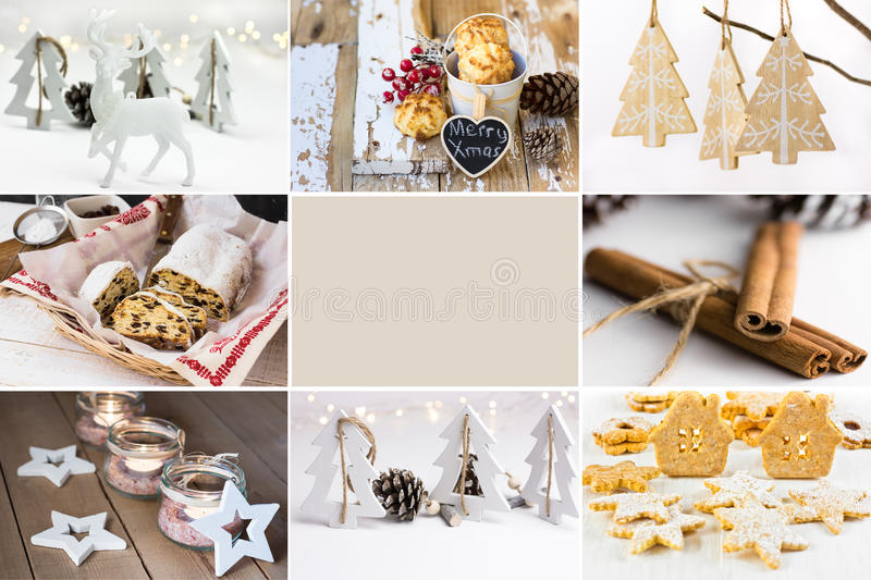 Photo collage, white Christmas ornaments, baking, cookies, stollen, jar candle holders, cinnamon, wood fir trees, reindeer royalty free stock photos
