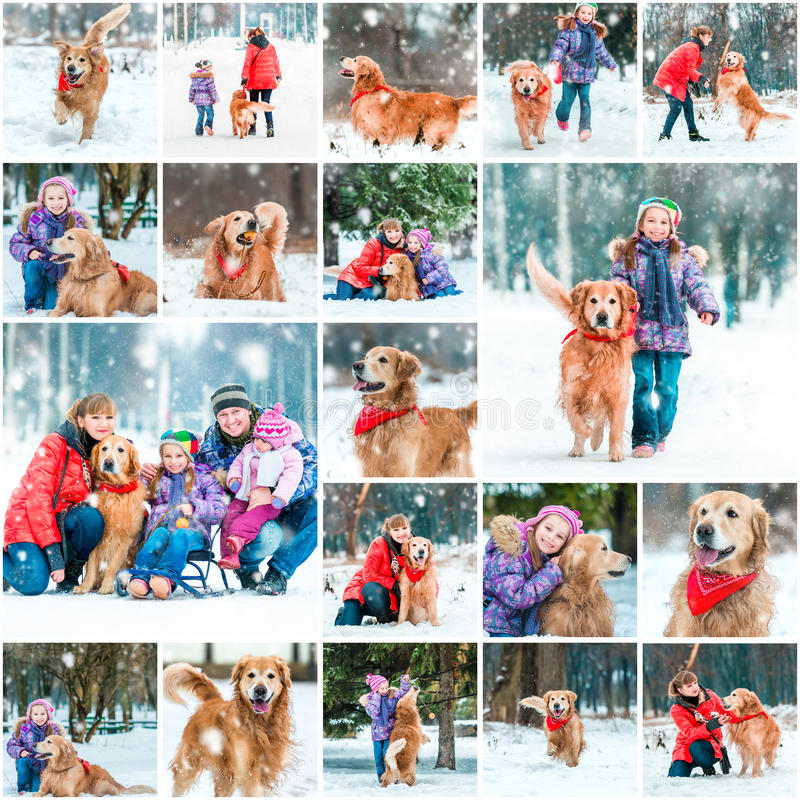 Photo collage of winter walks stock photos